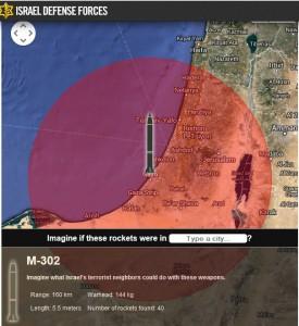 Reichweiter der M-302, die die HAMMAS auf Israel schiesst