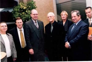 Yael-Ari-Lipinski,-Umweltminister-W.-Dietzel,-Efraim-Kishon,-Yehiel-Leket-KKL-Weltpraesident