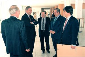 v.l. Johannes Rau, NRW MP  W. CLEMENT Ari Lipinski, J. Leket